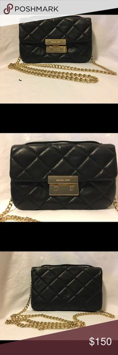 "QUILTED LEATHER BLACK CROSSBODY/MICHAEL KORS Height: 6"" Width: 9"" Depth: 1.5"" Shoulder chain drop: 22""  Condition: Excellent / Ni scratches / No dirt Michael Kors Collection Bags Crossbody Bags"