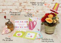 Tea Party - pachet onceput pentru a marca primul eveniment social din viata fetitelor gratioase si delicate. Elementele acestui set - invitatia de botez, place cardurile, meniurile, numerele de masa si mesajele pentru bebelus - au un design in culori pastelate, buline, forme si desene tematice. Pastel, Gift Wrapping, Creative, Gifts, Sweets, Gift Wrapping Paper, Cake, Presents, Wrapping Gifts