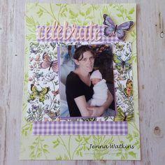 "Jenna Watkins - Botanical Butterfly 6x 8"" scrapbook page for ESAD 2019 Occasions Catalogue And Sale-A-Bration Blog Hop - #esadbloghop, #occasionscatalogue, #sale-a-bration, #botanicalbutterflydsp, #butterflyduetpunch, #stampinupaustralia, #jennawatkinscraftycorner, #scrapbooking, #6x8scrapbooking, Scrapbook Cards, Scrapbooking, Book Layout, Stampin Up, Catalog, Corner, Butterfly, Crafty, Frame"