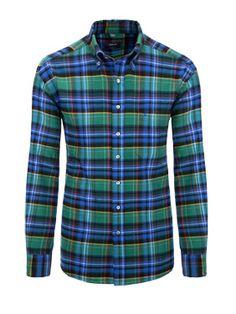 Weiches Flanellhemd von ETERNA mit sportlichem Button-Down-Kragen - erhältlich bei HIRMER #soft #check #shirt #fall #men