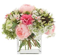 Natural Decorations, Inc. - Peony & Sunflower Pink Green, Glass Cube