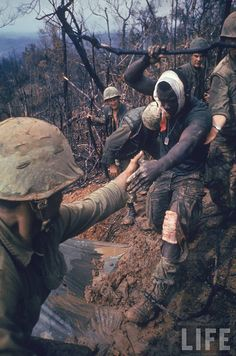 Photographer Larry Burrows captured these images. He had mixed feelings of his and other journalists role in the Vietnam War quote 'sometimes one feels like such a bastard'.