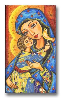 Folk Art Icon Mary and Jesus Christianity Art