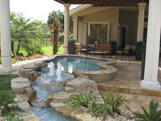 Pool Builders, Inc. - Elevated Pedestal Spa with Fountains in Davie, FL | by PoolBuilders,Inc