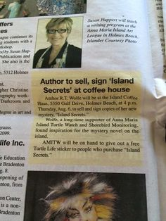 Romantic Suspense, Island Escape Series author, R.T. Wolfe book signing on Anna Maria Island, Florida.