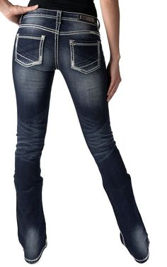 Rock & Roll Cowgirl Women's Dark Vintage Low Rise Boot Cut Jean