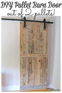 DIY: Pallet Sliding Barn Door - Lehman Lane - - A pallet sliding barn door adds a lot of character, saves space, looks amazing, and is cheap and easy to make. Learn how to build it and build yours today! Pallet Door, Pallet Barn, Diy Pallet Wall, Wooden Pallet Projects, Diy Barn Door, Outdoor Pallet, Garden Pallet, Pallet House, Pallet Cabinet