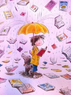 In April, one thousand books -illustration by Peter Reynolds Reading Art, I Love Reading, Illustrations, Children's Book Illustration, I Love Books, Books To Read, Peter Reynolds, World Of Books, Alphonse Mucha