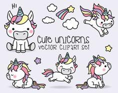Premium Vector Clipart - Kawaii unicornios - unicornios lindos Set de imágenes prediseñadas - vectores de alta calidad - descarga inmediata - imágenes prediseñadas Kawaii
