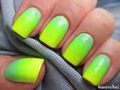 Pastel mint and neon yellow Ombre nails