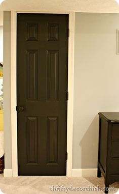 Black interior doors (in the basement)