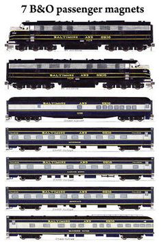 Baltimore & Ohio 2 E-units and 5 Capitol Limited passenger cars set of 7 refrigerator magnets by Andy Fletcher. Baltimore And Ohio Railroad, Pennsylvania Railroad, Train Drawing, Railroad Companies, Train Pictures, Central City, Diesel Locomotive, Car Set, Luxury Cars