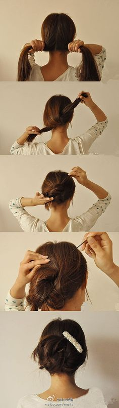 Knot, knot, hide the ends and secure with bobby pins, finished!