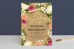"""Floral Canopy"" - Floral & Botanical, Rustic Foil-pressed Wedding Invitations in Peony by Griffinbell Paper Co.."