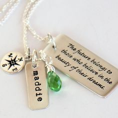 Graduation Necklace, Graduation Gift For Daughter, Compass, Dream, Believe,Class of 2013, Future Quotes for Grads, Future, Believe via Etsy