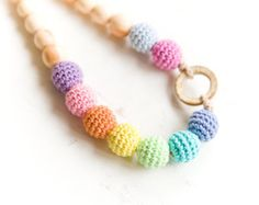 Black Friday Sale Nursing necklace earth colors Sling by bysiki