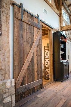 DIY Barn Door Wall Cabinet via KnickofTime.net - From the MBR to bath.