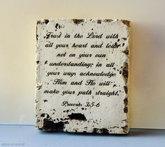 Vintage Proverbs 3:5-6 Engraving on Stone  Wall by LaceFashion