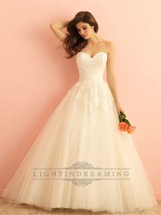Strapless+Sweetheart+A-line+Ball+Gown+Wedding+Dress