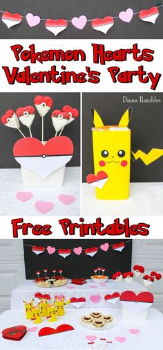 Pokémon Valentine's Day Party with Heart Party Decorations - Host a Pokemon Valentine's Day Party for your child using these free party printables. These Pokémon valentines party decorations can be printed at home.