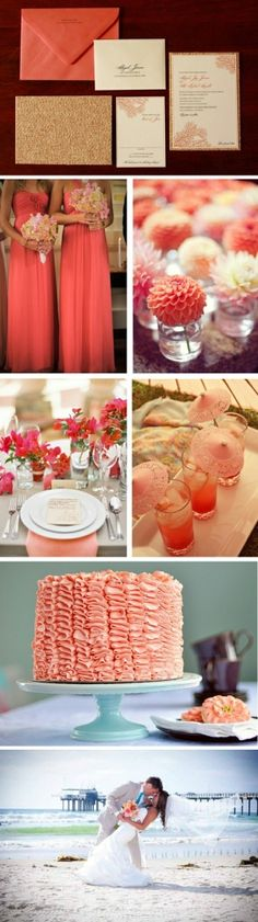 Peach, coral, and gold #weddingcolors