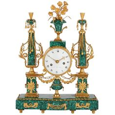 grandfather tattoo This beautiful mantel clock was crafted in France in the late century, during the reign of Louis XVI. The malachite veneer was recently added to this otherwi Antiques For Sale, Antique Stores, Old Antiques, Grandfather Tattoo, Grandfather Clock, Clocks For Sale, Cool Clocks, Louis Xvi, Antique Mantel Clocks