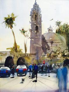California Tower Balboa Park Watercolor- Luis Juarez