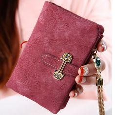 Short matte ladies wallet vintage tassel zipper and hasp womens wallets and purses Money Bag