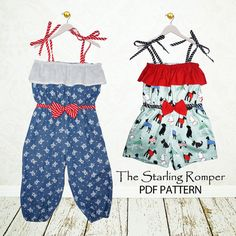 Girls sewing pattern PDF, Childrens sewing pattern, Instant download, Girls Romper pattern, Easy beginner, The Starling Romper