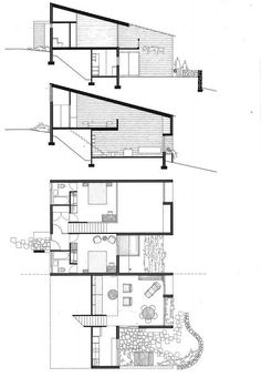 Hillside house Harry Seidler & Associates: Hillside Housing Make the Right move America is alway Architecture Plan, Residential Architecture, Houses On Slopes, Hillside House, Hillside Apartments, Architectural Section, Apartment Plans, House On A Hill, Home Design Plans