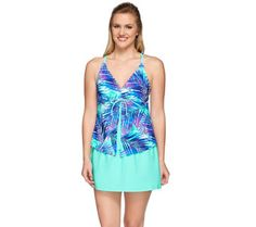 8f158e44be Ocean Dream Signature Traveler's Palm Fly-Away Tankini & Skirt -  A274587 Travellers Palm
