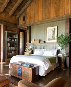 Comfortably Calming Napa Valley Bedroom with Beautifully Warm, Vaulted Wood Ceiling & Soothing Color Palette × - Modern and Vintage Cabin Decorating Ideas, Small Cabin Designs, Cabins Interior and Decor Inspiration Rustic Master Bedroom Design, Rustic Home Design, Home Interior Design, Rustic Decor, Bedroom Decor, Bedroom Ideas, Bedroom Rustic, Bedroom Designs, Rustic Wood