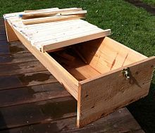 The angle of the sloped sides is most commonly recommended to be 30 degrees. Most top-bar hive plans show hives of roughly 1 meter long and between 30 cm and 50 cm wide and high. The top bars are usually inches to inches mm) wide, Bee Equipment, Top Bar Bee Hive, Langstroth Hive, Baby Bumble Bee, Beehive Design, Bee Hive Plans, Outdoor Furniture Plans, Backyard Beekeeping, Love Your Family