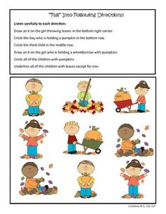 A 25-page Fall-themed Following Directions packet. Lots of spatial, temporal concepts, plus other direction-relate vocabulary: circle/underline/cross out, etc. Plus Fall vocabulary items.