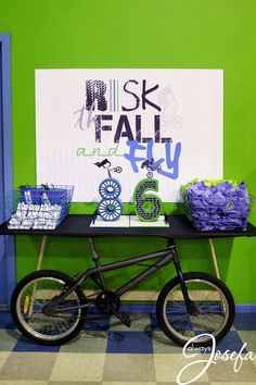 BMX Dirt Bike Motocross Party - BMX Cake Table, BMX motocross cake toppers, Risk the Fall and Fly backdrop banner Bicycle Birthday Parties, Bicycle Party, Dirt Bike Party, Dirt Bike Birthday, Motocross Cake, Bmx Cake, Bike Cakes, Baby Boy Birthday, Third Birthday