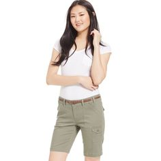 Be Bop Juniors' Military Bermuda Shorts ($20) ❤ liked on Polyvore featuring shorts, olive, military shorts, army green shorts, bebop shorts, military style shorts and olive shorts