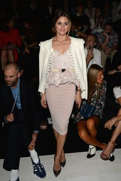 The Stars Come Out For Paris Fashion Week: Olivia Palermo was prim and proper in a frilly soft pink top and a matching pencil skirt at the Nina Ricci show. She then threw on a white jacket and printed Stuart Weitzman pumps to complete her front-row style.