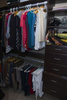 Jo-Lynne had been planning on redoing her master closet for years. Her already spacious closet now has even more room thanks to the double hanging rods and other efficient storage solutions she added during her EasyClosets makeover. Closet Redo, Master Bedroom Closet, Closet Ideas, Easy Closets, Simple Closet, Closet Layout, Walk In Wardrobe, Home Organization Hacks, Storage Solutions