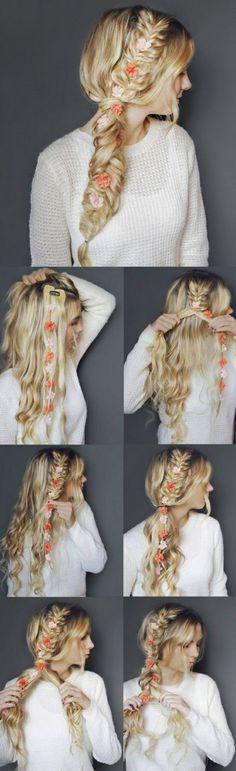 lange blonde haare, großer zopf, felchtfrisur mit blumen