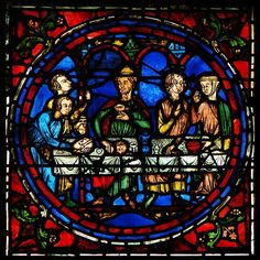 century stained glass window, the central image of Notre-Dame de la Belle Verrière from Chartres Cathedral. This section is depicting the marriage at Cana. Medieval Stained Glass, Stained Glass Church, Stained Glass Angel, Stained Glass Windows, Chartres France, L'art Du Vitrail, Jesus Christus, Acrylic Pouring Art, Smart Art
