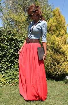 Cute transition outfit. =D coral maxi skirt/dress with a light blue chambray shirt & a wide brown bealt.