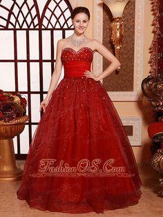 Wine Red Sweetheart A-line Floor-length Sweet 16 Quinceanera Dress Custom Made Hottest fashionos.com