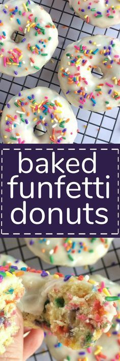 make with gluten free flour. Soft and sweet donuts filled with funfetti sprinkles, covered in a vanilla glaze and baked in the oven. These baked funfetti donuts are soft, sweet, quick to make, and so delicious! Köstliche Desserts, Delicious Desserts, Dessert Recipes, Yummy Food, Rainbow Desserts, Delicious Donuts, Yummy Treats, Sweet Treats, Donut Filling