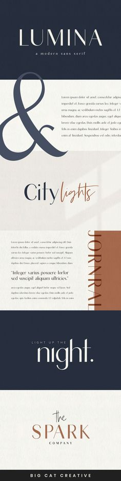 Introducing LUMINA, a modern, classy san serif typeface. This font pairs well with modern san serifs and scripts as pictured, or stands strongly on its own as a heading or editorial font. Sans Serif Typeface, Typography Fonts, Lettering, Typography Design, Branding Design, Logo Design, Website Design Inspiration, Graphic Design Inspiration, Classy Fonts