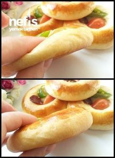 Yumuşacık Pizza Donut (Patisserie Rezept) - Pin This No Salt Recipes, Pizza Recipes, Cookie Recipes, Cooking Bread, Bread Baking, Pizza Pastry, Tea Time Snacks, Bread And Pastries, Turkish Recipes