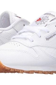 Reebok Kids Classic Leather Gum (Infant/Toddler) (White/Gum) Kids Shoes - Reebok Kids, Classic Leather Gum (Infant/Toddler), V69626-000, Footwear Closed Lace up casual, Lace up casual, Closed Footwear, Footwear, Shoes, Gift, - Street Fashion And Style Ideas
