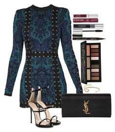 A fashion look from February 2017 featuring Balmain dresses, Giuseppe Zanotti sandals and Yves Saint Laurent clutches. Browse and shop related looks. Dressy Outfits, Stylish Outfits, Cute Outfits, Fashion Outfits, Womens Fashion, Mode Lookbook, Ellie Saab, Frack, Elegantes Outfit