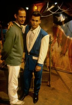 John Waters and Johnny Depp on the set of Cry-Baby