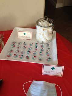 "Candy ""Medication Cups"" and Marshmallow ""Cotton Balls"" at my Nursing Graduation Party!"