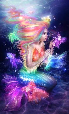 ❤️ I love mermaids and I love color so this is amazing to me! Disney Characters, Fictional Characters, Disney Princess, Faeries, Beautiful, Unicorn, Names, Mermaid, Illustrations